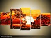 Acryl Schilderij Zonsondergang | Rood, Oranje, Bruin | 150x70cm 5Luik Handgeschilderd