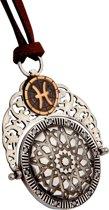 Biggdesign Pisces zilveren ketting voor dames | Bruin lang touw | Zirkoonsteen met 12 planeten | Speciale sieraden voor Zodiac | Verjaardagscadeau | Speciaal ontwerp | 925 sterling zilver