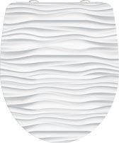 SCHÜTTE WC-Bril 82584 WHITE WAVE - High Gloss - Duroplast - Soft Close - Afklikbaar - RVS-Scharnieren - Decor - 1-zijdige Print
