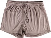 Broadway suède look short relaxed fit dark taupe - Maat M
