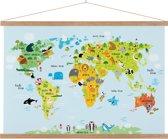 Wereldkaart voor kinderen schoolplaat dieren kinderkamer 90x60 cm platte latten - Textielposter