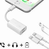 Splitter geschikt voor iPhone en iPad 8-Pin aansluiting kabel connector | Horizontal | 9CM | Wit