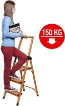 Huishoudtrap Keukentrap - Met 3 Treden - Huishoudladder Inklapbaar - Trapladder Opvouwbaar - Anti-Slip - 150 KG Draagvermogen - Lichtgewicht Aluminium
