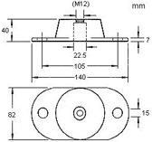 Motor bevestiging max 55kg breedte 140mm, hoogte 50mm, schoefafstand 105mm. (GS38106)