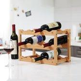 Decopatent® Wijnrek - 42 x 21 x 28 cm - Bamboe - 12 flessen - Design wijnflessenrek