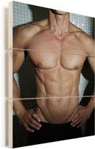 De torso van een man Vurenhout met planken 20x30 cm - klein - Foto print op Hout (Wanddecoratie)