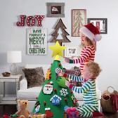 Kegelvormige Kinder Kerstboom - 70cm - Vilten Kerstboom - Klittenband Versieringen - Staand