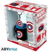 Captain America - Cadeauset -  Glas 29cl + sleutelhanger + Mini Mok - MARVEL