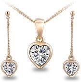 Fashionidea - Mooie goudkleurige ketting met hartjes hanger en oorbellen de Loving Hearts Set Gold