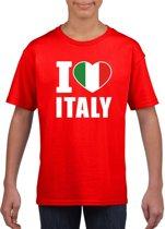 Rood I love Italy supporter shirt kinderen - Italie shirt jongens en meisjes M (134-140)