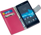 LELYCASE Bookstyle Wallet Case Flip Cover Bescherm Sony Xperia Z Pink