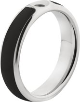 MelanO Twisted Resin Ring - Zwart/Zilverkleurig - Maat 62