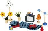 Goki Houten poppenhuis woon en slaapkamer accessoires 17 delig