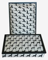Margot Steel laptray/schoottafel Dogs zwart/ecru - 41 x 31 10 cm