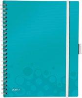 Leitz WOW Be Mobile Schrijfblok A4 - Plastic Voor- en Achterblad -  Gelinieerd - ijsblauw