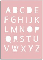 DesignClaud ABC Roze Kinderkamer poster - Alfabet A4 + Fotolijst zwart