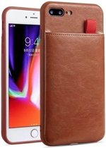 Apple iPhone 8 Lederen Telefoonhoesje - Pasjeshouder 3 pasjes - Apple iPhone 8 Case - Apple iPhone 8 Leather Back Cover - Bruin