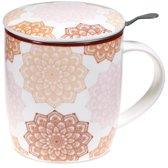 Theemok met filter Mandala roze (400 ml)