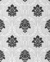 Barok behang EDEM 052-20 vinyl behang damast klassiek wit zwart licht grijs