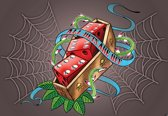 Fotobehang Alchemy Dice Tomb Skulls Spider Web | PANORAMIC - 250cm x 104cm | 130g/m2 Vlies