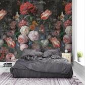 Behang poster colorful floral en retro backally tulips