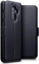 Hoesje voor Samsung Galaxy A6 Plus (2018) / A6+ (2018), echt lederen 3-in-1 bookcase, zwart