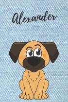 Alexander Hunde-Notizbuch / Malbuch / Tagebuch: Individuelles personalisiertes blanko Jungen & M�nner Namen Notizbuch, blanko DIN A5 Seiten. Ideal als