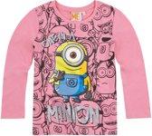 Minions-T-shirt-met-lange-mouw-fuchsia-maat-152
