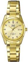 Q & Q - Q&Q horloge met goudkleurige stalen band