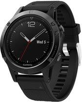 Siliconen Horloge Band Voor Garmin Fenix 3 (HR) / 5X (Plus) / Sapphire Strap - Armband Polsband Sportband - 26MM Quickfit - Small/Large - Zwart