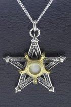 Zilveren Pentagram met blauw oog ketting hanger