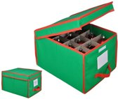 Opbergbox kerstballen, stoffen opbergdoos voor 24 ballen