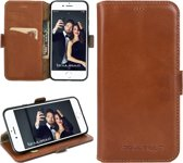 Echt Leer cover - iPhone 6S hoesje - Lederen Book Case Bruin - WalletCase (Rustic Cognac)