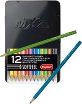 Bruynzeel MXZ BLIK 12 Kleurpotloden + Boek met 72 Mandala's voor volwassenen.
