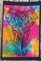 Wall art – Olifant - katoenen wandkleed – decoratie – laken - meditatie – yoga - spiritueel