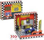 Raceauto speelgoed box met houten auto's en accessoires
