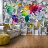 Fotobehang Modern 3D Colourful World Map | VEL - 152.5cm x 104cm | 130gr/m2 Vlies