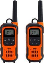 Alecto FR-300 Robuuste Walkie Talkie 10 km | Drijvend, stof-en waterbestendig (IPX7) en Zaklamp met SOS functie | Oranje / Zwart