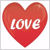10x love hartje sticker 10,5 cm - Valentijn feeststicker