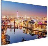 FotoCadeau.nl - Panorama van Berlijn bij schemering Aluminium 90x60 cm - Foto print op Aluminium (metaal wanddecoratie)