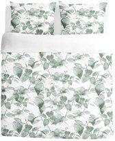 Walra Green Leaves - Dekbedovertrek - Eenpersoons - 140x200/220 cm + 1 kussensloop 60x70 cm - Wit