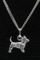 Zilveren Australische terrier met staart ketting hanger - klein