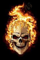 Flaming Skull Halloween Journal Notebook
