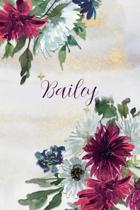 Bailey: Personalized Journal Gift Idea for Women (Burgundy and White Mums)