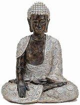 Boeddha beeldje zilver/bruin 29 cm