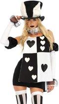 Wonderland White Rabbit kostuum - S - Zwart, Wit - Leg Avenue