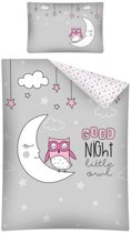 Baby dekbedhoes Goodnight Little Owl  - uil - Grijs