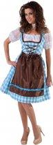 Blauwe Dirndl jurk met bruin schort 42 (l)