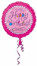 Helium Ballon Happy Birthday Roze 43cm leeg