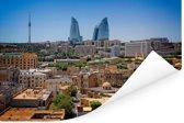 De oude stad Bakoe in Azerbeidzjan met de Flame Towers op de achtergrond Poster 90x60 cm - Foto print op Poster (wanddecoratie woonkamer / slaapkamer)